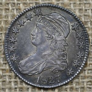 1827 50C AU+ Capped Bust Half Dollar Curled Base 2