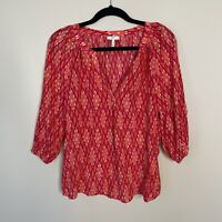 Joie Addie B 3/4 Sleeve V Neck Blouse Women's XS Pink Ikat Silk Tunic Top