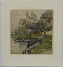 Color Etching, Melk Abbey, View from River, Austria, Luigi Kasimir