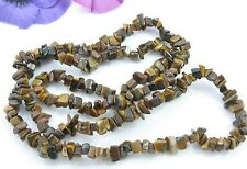 "Genuine TIGERS EYE NECKLACE Vintage  Semiprecious Stone Nugget Beads 34"" Length"