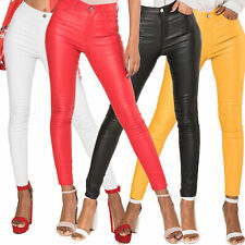 coloured leather look trousers
