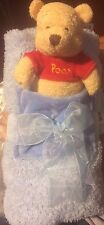"""New Disney Store Winnie the Pooh blue chenille blanket and plush Soft 25x30"""""""