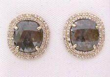 4.56 TCW Natural Cushion Cut Fancy Green Diamond Stud Earrings 14k Yellow Gold