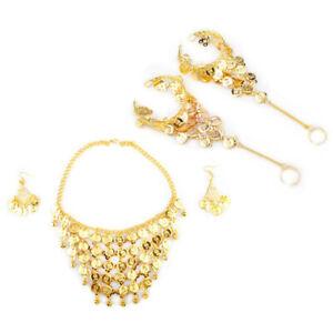 BellyLady Tribal Belly Dance Jewelry Set - Gold Necklace & Earrings & Bracelets
