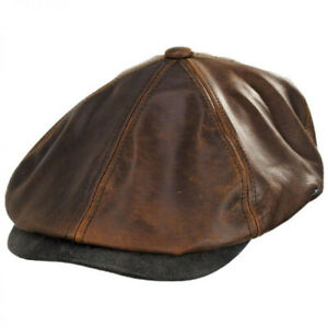 Jaxon Leather Suede Newsboy Cap