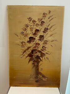 Vintage Oil Painting flowers by K wayts 24 x 16
