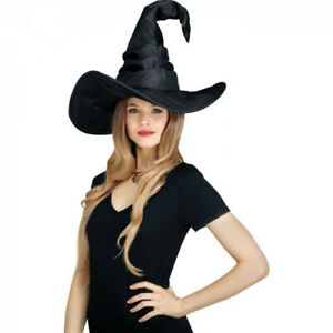 Curved Cone Witch Hat Ladies Halloween Witches Hat Fancy Dress Accessory