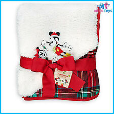 Disney Mickey and Minnie Mouse Christmas Holiday Fleece Throw brand new