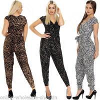 New Ladies Womens Animal Leopard Aztec Print  Jumpsuit Playsuit Size S M L XL 14