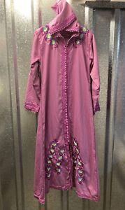 Womens Purple Embroidered Long Hooded Side Pockets Kaftan Dress Size X Large