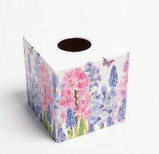 Hyacyinth Tissue Box Cover Holder  wooden handmade decoupaged uk