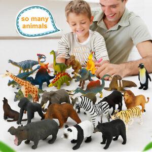 12/24Pcs Kids Toys Small Plastic Figures Farm Dinosaur Zoo Animal Safari Model