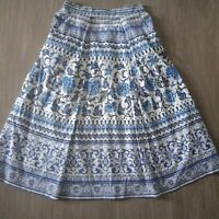 Jacqui E Womens A Line Skirt Pleated Lined Blue White Print Size 6