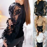 Lace Mesh Long Puff Sleeve Shirt O-Ausschnitt Top Lose Freizeitbluse S1S2