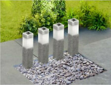 NEW4 Modern Solar Powered Stone Effect LED Garden  Driveway Post Stake Lights UK