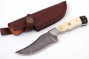 CUSTOM MADE DAMASCUS BLADE HUNTING/SKINNER KNIFE WITH LEARTHER SHEATH DC-9013