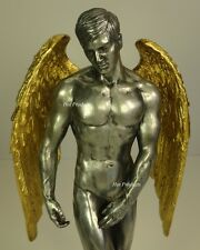 "11"" NUDE MALE GUARDIAN ANGEL Winged Sculpture Statue Pewter and Gold Color"