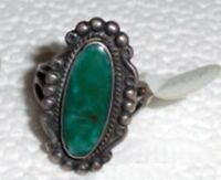 Navajo Natural Blue Gem Turquoise Ring Sz 6 Fred Harvey Era Sterling Silver .925