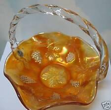 FENTON ART GLASS ~ MARIGOLD CARNIVAL~ BASKET, GRAPE ~NIB