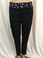 Express Womens Pants Stretch Size 1/2  Black Floral Embroidered Waist