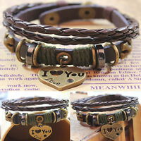 Fashion Jewelry Infinity Faux Leather Charm Bracelet lots Beads Style Gift new