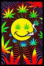 HAPPY WEED - BLACKLIGHT POSTER - 24X36 FLOCKED MARIJUANA SMILEY 52531