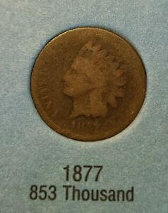 1877 Indian Head Cent KEY DATE.  Rough shape but super rare!