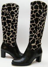 WOMENS DIEGO DI LUCCA GIRAFFE KNEE HIGH ZIP PONY HAIR BLK WHITE BOOTS 6.5~1/2 M