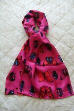 """New handmade 100% silk scarf 70"""" x 13"""" cerise pink butterflies & beetles soft"""