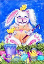 #123 Happy Bunny Rabbit Painting Eggs Easter Chicks House Flag 28x40 Banner