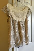 HD In Paris Anthropologie Never Worn Gold Lace Top 10