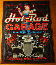 HOT ROD GARAGE Pin up Girl Mechanic Repair Automobile Car Shop Decor Sign NEW