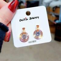 Fashion 18K Gold Round Zircon Hoop Earrings Dangle Dop Earrings Party Jewelry