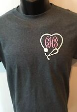Monogram Stethoscope Longsleeve Shirt Nurse Left Chest Initials Personalize New