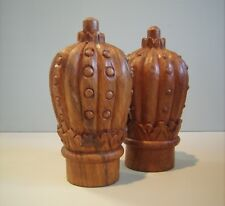 Vintage Pair Large Ornate Carved Architectural Royal Crown Shaped Finials