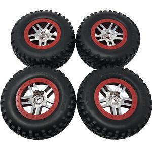 4 x Traxxas Slash 4x4 Wheels SCT Split-Spoke, Chrome, Red Beadlock Style & Tyres