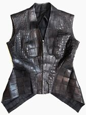 RICK OWENS Palais Royal (HUN) Black Crocodile Leather Asymmetric Vest  $10,000