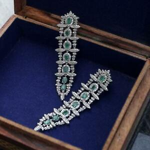 Earring Natural Pave Diamond Emerald Gemstone 925 Sterling silver Jewelry SA