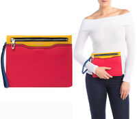 $295 Rag & Bone Multi Color Block Leather Zip Pouch Wristlet Bag Clutch Purse