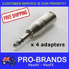 "4pcs Male XLR Plug to TRS 1/4"" Jack Balanced Audio Audio Adapter Lead 6.35mm"