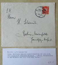 Reichs-Kriegsmarine 1926 Stempel Dt. Schiffspost Linienschiff SCHLESWIG-HOLSTEIN