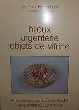 1979 Catalogue de vente Illustré DROUOT BIJOUX ARGENTERIE OBJETS DE VITRINE