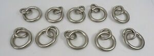 """Pottery Barn Standard Curtain Round Rings Small 1.25"""" Diam Pewter S/10 #9973"""