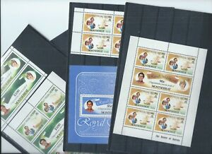 Montserrat stamps. 1981 Royal Wedding 3 sheetlets, Booklet panes MNH. (M227)