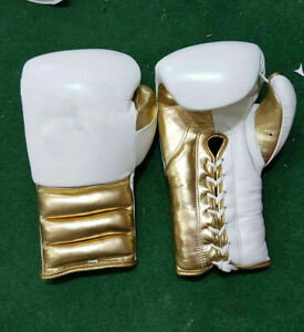 New Custom Mexican Style White Gold Boxing Glove any logo, inspired by grant