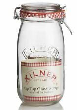 Kilner Round Airtight Clip Top Clear Glass Food Storage Jar 1.5