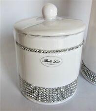 Bella Lux Crystal Rhinestones White Ceramic Cotton Jar Swab Lidded Canister