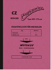 CZ Cezeta Roller Typ 502 Ersatzteilliste Teilekatalog Ersatzteilkatalog Jawa
