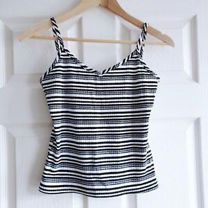 c.1990 Jeffrey Rogers Size 14 Black White Striped Cami Cropped Top Vest Vintage