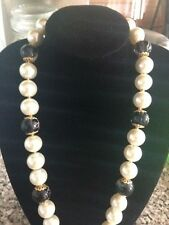Faux Pearl & Black Necklace, Pattern Glass, 12mm - Last one!